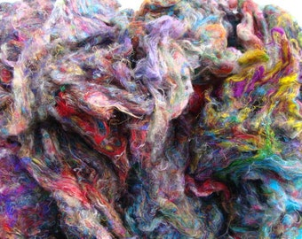 4oz. Pulled Reclaimed Sari Silk Pastel And Vivid Colors Price Reduced By Four Dollars