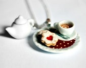 Tea Cup Necklace, with Miniature Teapot and Cookies on Red Polka Dots Doily Double Pendant - Miniature Sweets - Hostess Gift - Food Jewelry