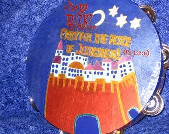 "Pray for Jerusalem 10"" inch hand painted Tambourine"