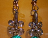 Egyptian Spiral Copper Earrings with Malachite            no. 0314