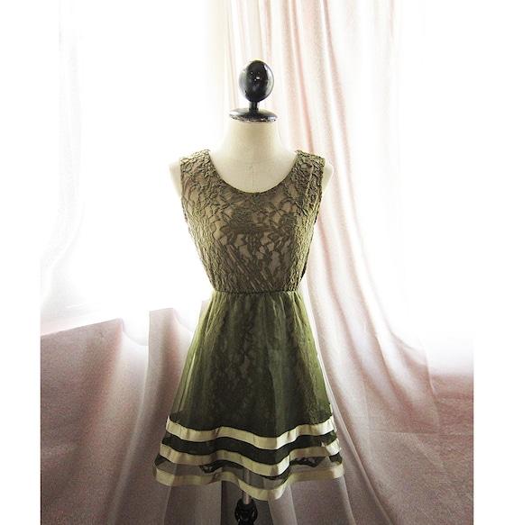 Frolic Sage Forest Green Marie Antoinette Alice in Wonderland Autumn Jane Austen Flare Angel Misty Nostalgia Tea Party Dress / Long Tunic
