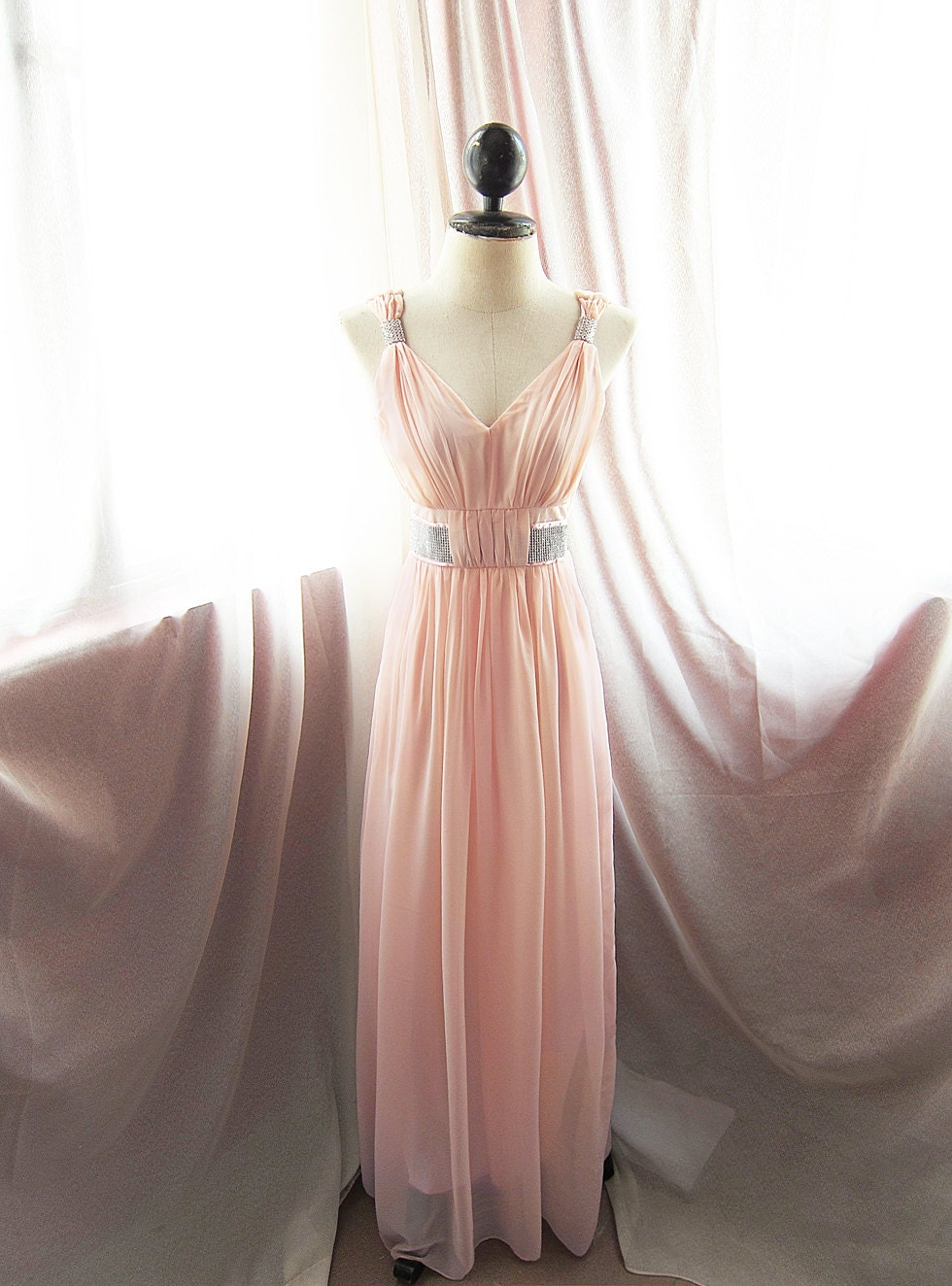 Great gatsby egyptian goddess pink rose blush chiffon long for Wedding dresses with roses on them