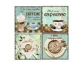 ON SALE - 25% OFF - Coffee Themed Coaster Set