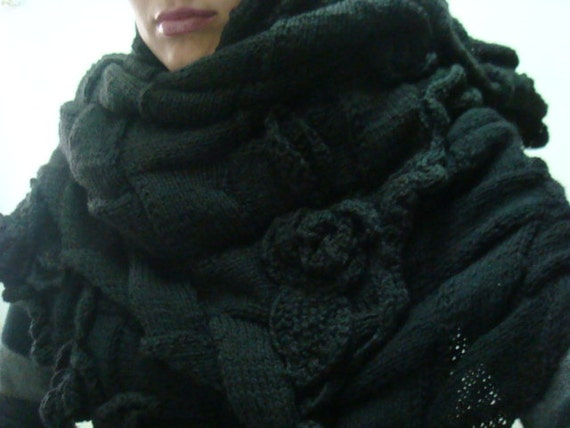 Knitting PATTERN Entrelac Scarf, Oversized Knit Scarf Pattern, Large Scarf Shawl with Roses, 34