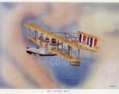 Vintage Airplane Print -  Curtiss NC-4 Flying Boat - Nancy Boat - Nancy - Navy Curtiss - Lithograph - Naval Aviation History