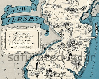 New Jersey Map Vintage - Map Art - High Res  DIGITAL IMAGE 1930 Vintage Picture Map - Aqua Turquoise - Beach Cottage Decor - FUN