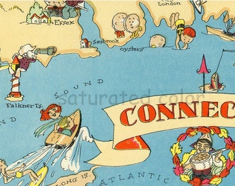 Connecticut Map ORIGINAL 9 X 13 Vintage 1930s Antique Picture Map - Ruth Taylor White - New Haven - Yale - Hartford - Danbury - Souvenir