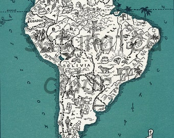 South America Map - High Res DIGITAL IMAGE of a 1930s Vintage Picture Map - For Prints Totes Cards Pillows - Argentina - Chile - Brazil