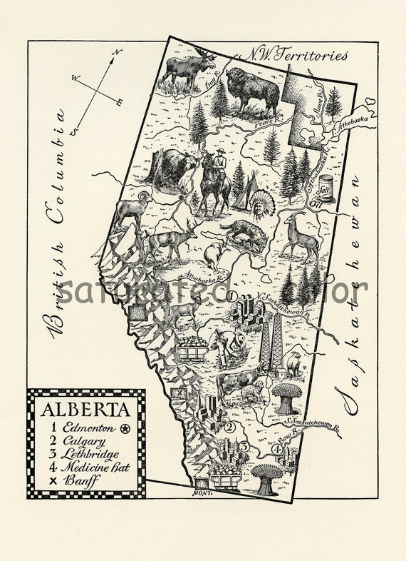 20% OFF ALL Maps - Alberta Canada  Vintage Map  - A Beautifully Illustrated 1940s ORIGINAL Vintage Picture Map of Alberta Canada
