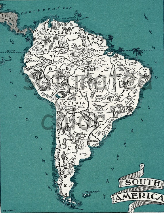 South America Map High Res DIGITAL IMAGE Of A S Vintage - Argentina map vintage