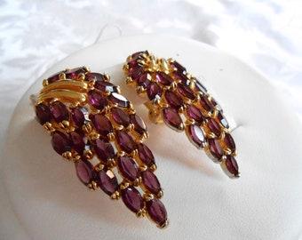 Vintage earrings, Julianna D & E style earrings, amethyst crystal clip-on earrings, haute couture earrings, vintage jewelry