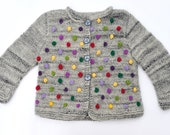 Girls sweater / jacket knitted cardigan grey wool winter warm knitting Red Purple Yellow Green Bobbles, Baby and toddler, Made to order - SweetMeadowSweet