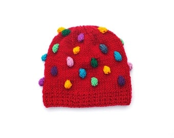 Knitted Toddler Baby Girls Boys Hat, Red wool Beanie Pink Yellow Purple Blue Mint popcorn bobbles fall winter 12-18-24 months, 2T 3T 4T 5
