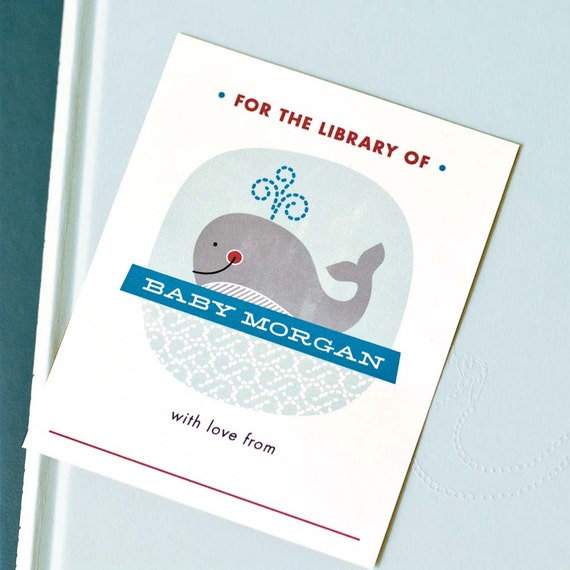 Personalized Bookplates, Baby Shower Bookplate // WHALE