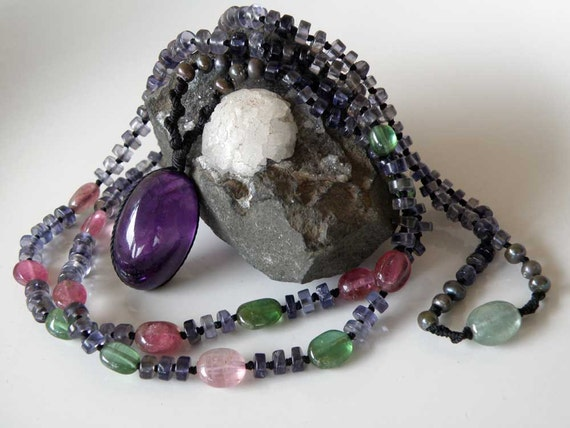 Purple Amethyst and Iolite gemstone mala necklace - pink green Tourmaline Pearl - disc shaped beads - macrame - Tribal necklace