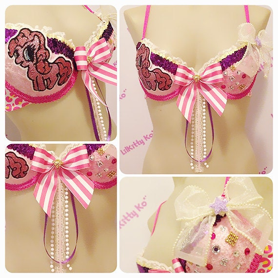 Pinkie Pony - Sparkly Bra with bows and pearls - Halloween costume