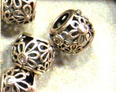 Bead CLEARANCE SALE Open Work Flower w/cz ball in sterling