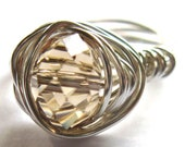 Wire Wrapped Ring Faceted Glass Rondelle Champagne Fashion Jewelry