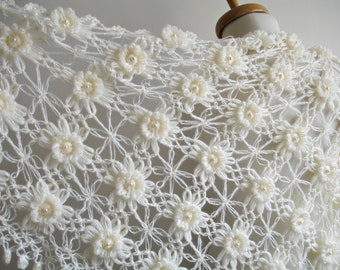 Wedding Wrap, Ivory Shawl,   Bridal  Shawl with Pearls, T riangle Shawl By Crochetlab, Mohair, Ready To Ship, Gift for Her
