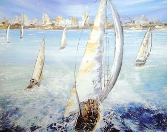 Sailingboats- Original Painting - Painting on Canvas -  blue- indigo - sailing boats - australian art