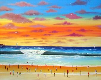 Sunset on the Beach Original Painting- Wonderful Beach -  Original Acrylic  Painting on Canvas - Beach painting - Painting on canvas