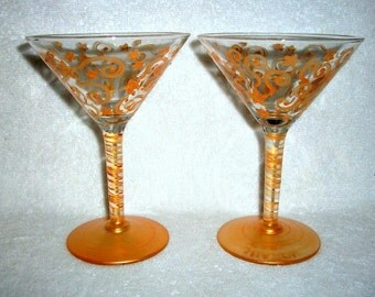 Reduced / Handpainted Martini Glasses Gold Stars and Swirls Hand Painted  Set of 2  /  6 oz. Mothers Day, Wedding,Birthday,Gift