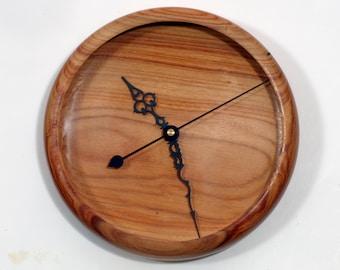 Wall Clock, Canarywood Clock, Turned Wood Clock