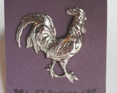 Rooster Brooch - Rooster Pin - Antique Silver or Antique Gold