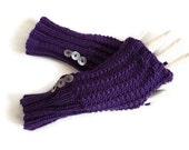 Purple Fingerless Glove, Knit fingerless gloves, knit fingerless mittens, txting gloves