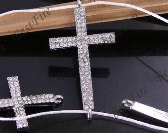 5pcs of 22x43mm Platinum tone Rhinestone Cross Connector,Cross Bracelet Connector,bangle findings