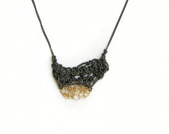 crochet texture silver & goldfilld necklace