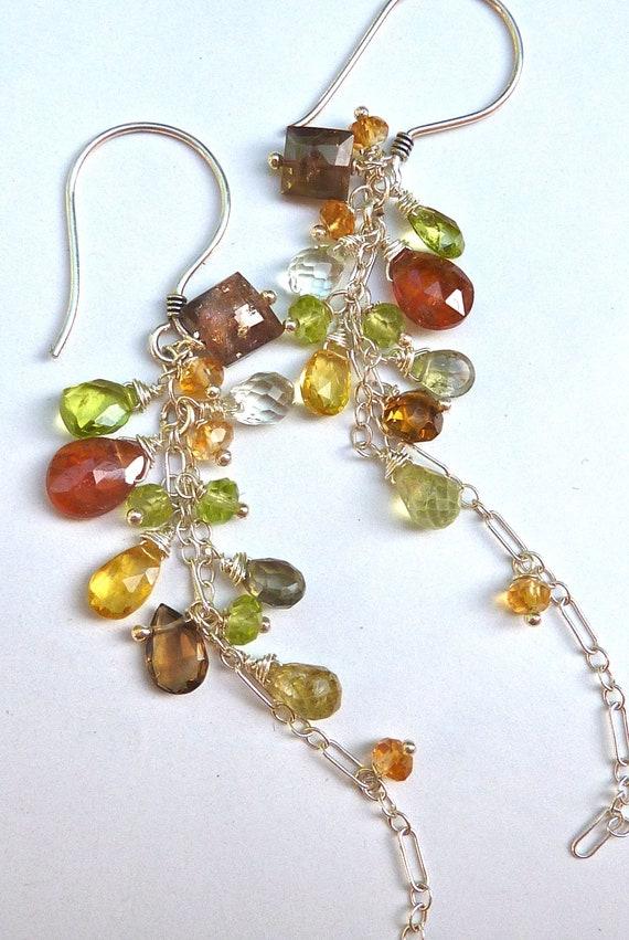Autumn Cluster Earrings. Neutral Color Gemstone Chandelier Earrings. Drop Earrings. Dangly Chain Earrings.