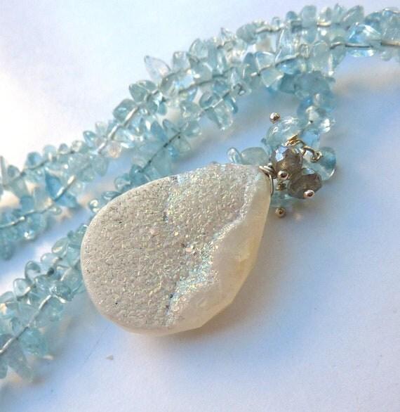 Drusy Geode Statement Necklace. Beadwork Necklace. Druzy Quartz & Aquamarine Pendant Necklace.