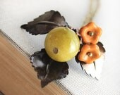 Leaf Necklace, Long Necklace, Acorn Charm Pendant, Pumpkin Blossom, Olive Green, Chartreuse, Autumn Jewelry, Fall Accessories, Woodland