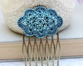 Flower Hair Comb, Teal Blue Daffodil, Vintage Style, Shabby Chic Floral, Bridal, Something Blue, Wedding, Easter, Spring Hair Accessories