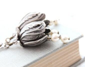 Tulip Earrings Modern Floral Antique Silver Earrings Dangle Earrings Flowers Pearl Drop Bellflower Pretty Flower Jewelry Bridesmaids Gift
