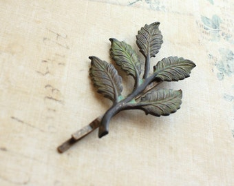 Branch Bobby Pin Dark Green Verdigris Patina Hair Pin Leaf Bobbies Rustic Hair Accessories Woodland Wedding Moss Green Leaves Gift for her