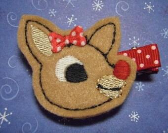 Girl Reindeer Christmas Felt Hairbow  Clippie - For Infant Toddler Girl