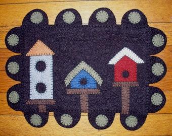 Birdhouse Row Wool Felt Penny Rug