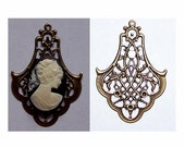 Antique Bronze steampunk setting Filigree stamping charm connector 53x40mm with ring jewelry finding 470x