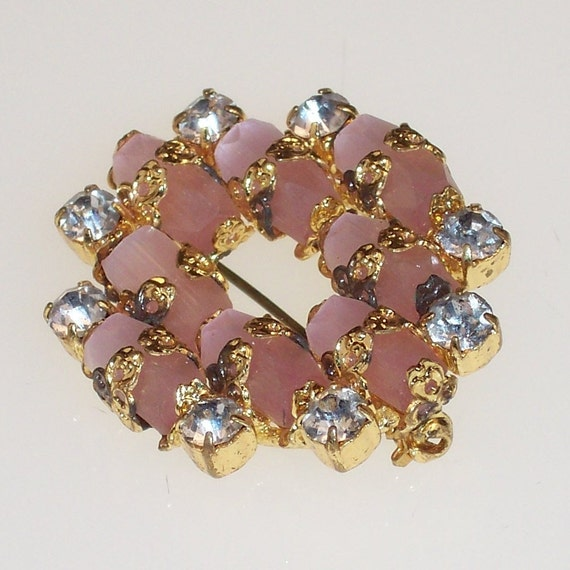 Pink Vintage Brooch Rhinestone and  Pink Satin Glass Beads 1950s 1960s