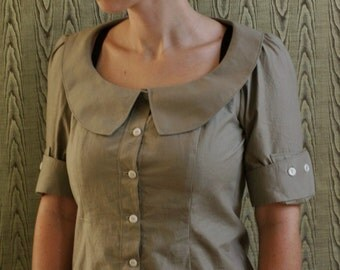 Button front cotton blouse with pointed peter pan collar and button cuff sleeves- custom made to your measurements-