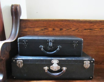 Two Vintage Antique Black Suitcases - Wood with Leather Handles - Paper Lined - Home Decor / Storage - 1940's