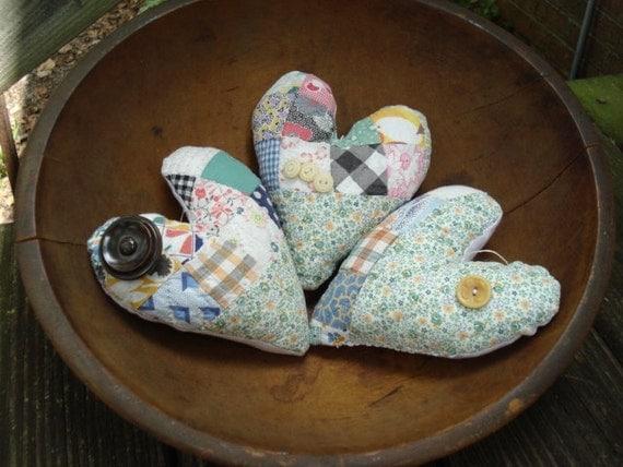 SALE Vintage Pastel Quilt Heart Primitive Pillow Bowl Filler Hangers Ornies