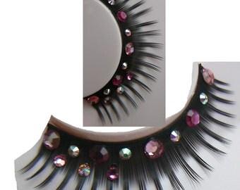 Sparkly Mallarkey - Ultra Sparkly False Eyelashes with Genuine Swarovski and Preciosa Pink Crystal Diamante Rhinestones