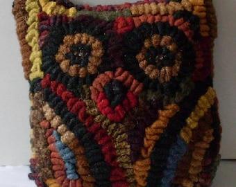 Hoot The Owl Primitive Folkart Hooked Rug Hit or Miss PATTERN