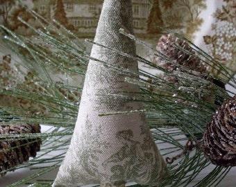 Primitive Folkart Green Toile Tree Ornament Decorations Favor LJO Collection