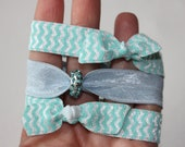 NEW Elastic Hair Ties -- Blue and White Chevron -- Rhinestone Bead -- Set of 3