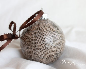 Handmade Christmas Ornament - Handcrafted Christmas Ball - Brown Burlap - Decoupage Ornaments, Unique