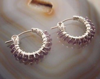 Amethyst Earrings February Birthstone Earrings Womens Gift Hoop Earrings Silver Hoops Beaded Hoops Amethyst Jewelry Beaded Hoop Earrings